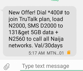 MTN 5GB and 2560 credit