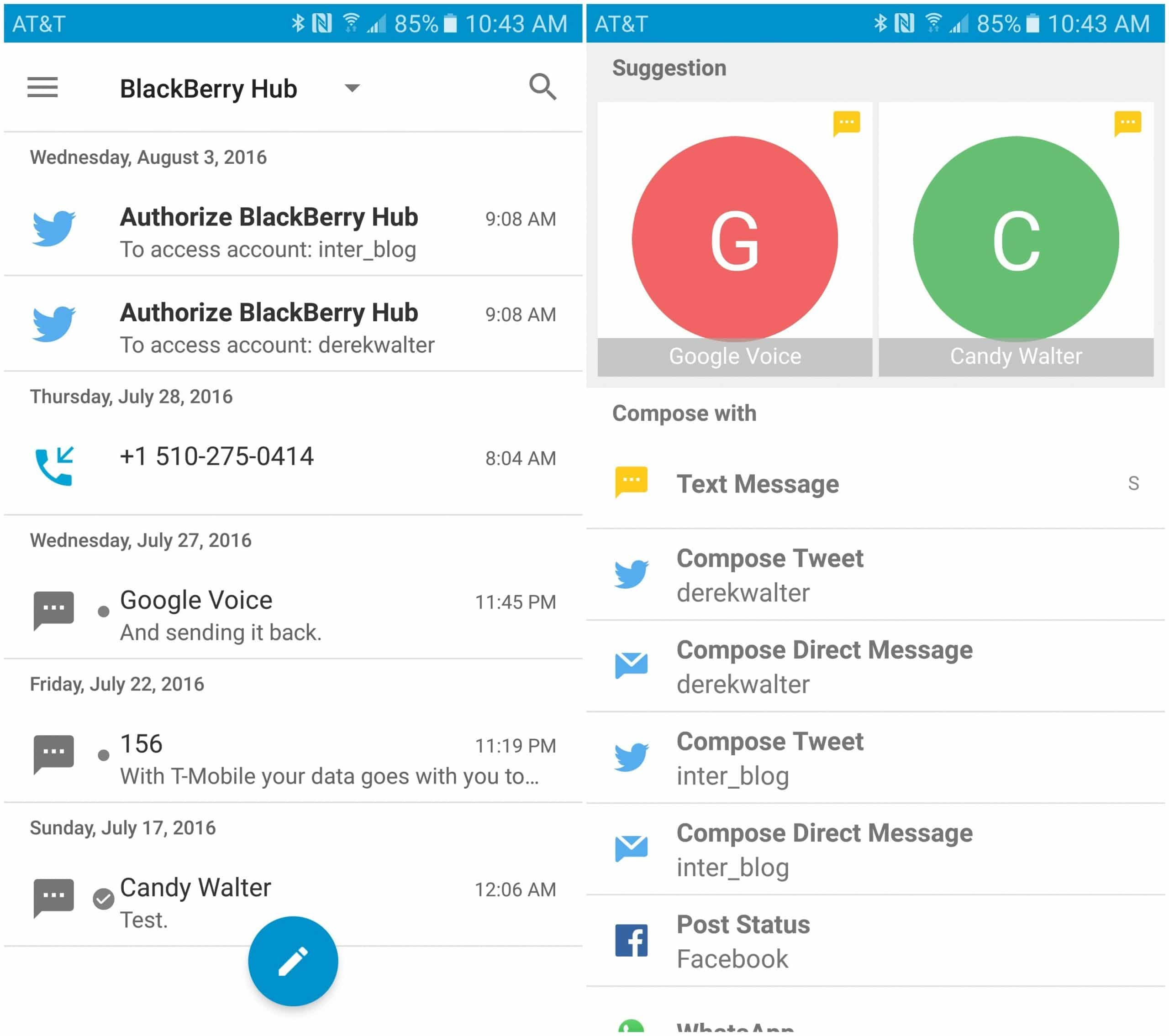 Blackberry Hub+ app