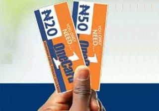 OneCard Nigeria N20 and N50 recharge cards