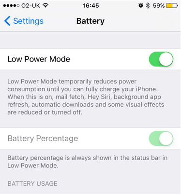iphone low battery option