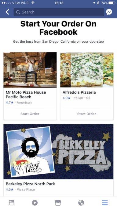 facebook food order