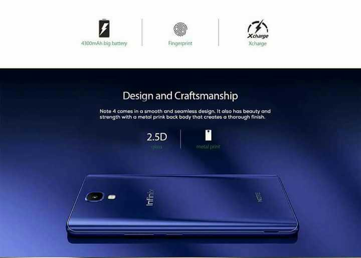 Infinix Note 4 with Metal Build, with 2.5D Glass protection