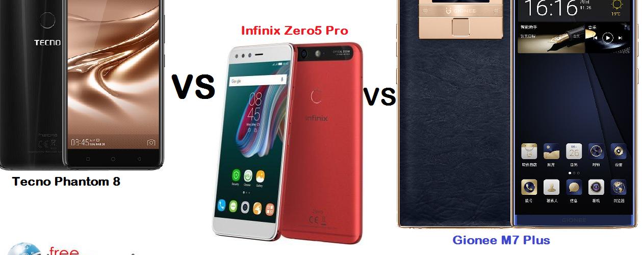 Tecno Phantom 8 vs Infinix Zero 5 vs Gionee M7 Plus