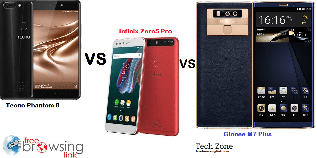 Tecno Phantom 8 vs Infinix Zero 5 Pro vs Gionee M7 Plus