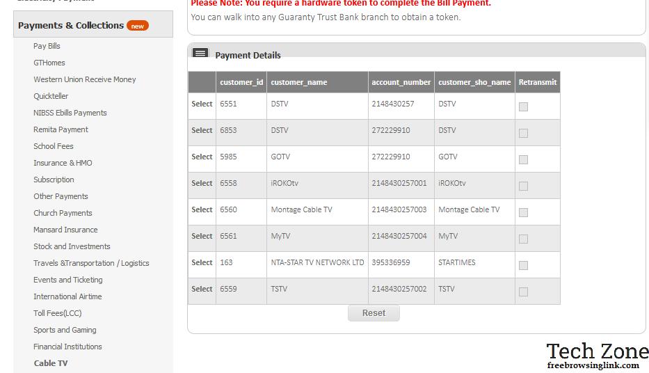 dstv payment via gtbank internet banking