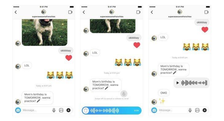 instagram adds voice messaging