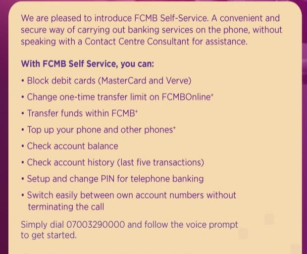 fcmb self service
