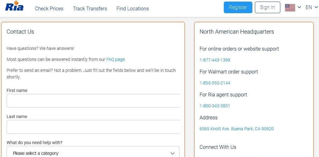 RIA Money Transfer Customer Service
