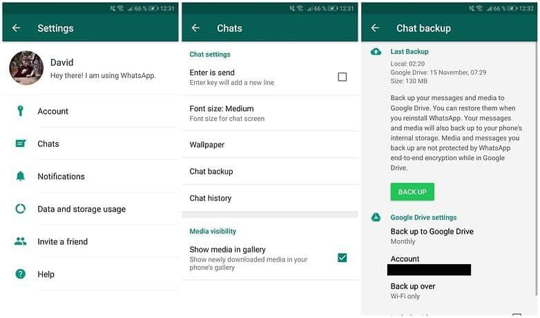 whatsapp backup on Android