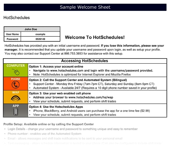 hotschedules welcome sheet