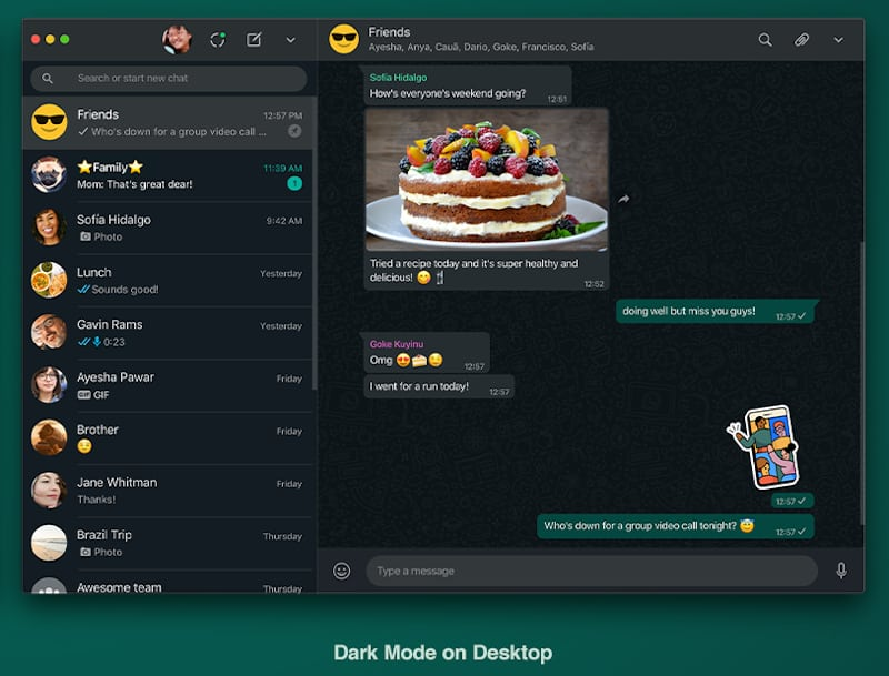 whatsapp dark mode on desktop