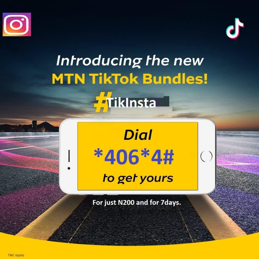 MTN launches TikTok and Instagram 1GB for N200 and 350MB for N100