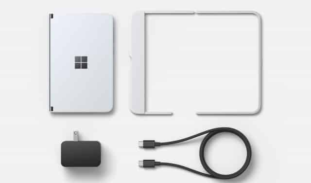 Microsoft Surface Duo with bumper cover in the box