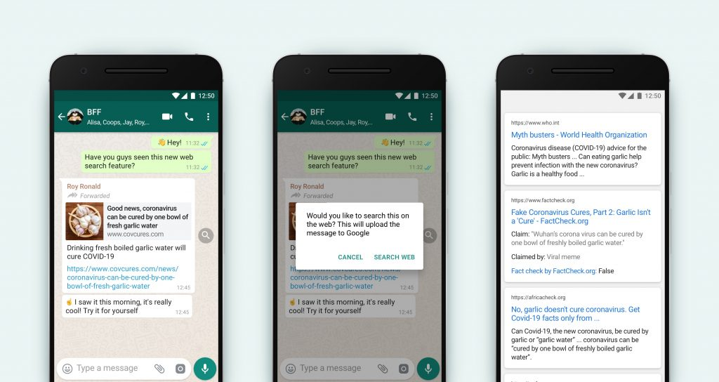 WhatsApp adds ability to fact-check forwarded messages with Google